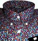 Black Multi Coloured Swirl Dot Men's Shirt Casual Vintage 100% Cotton - Relco