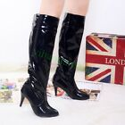 Womens Shiny Faux Leather Stiletto Pull On Club Knee High Boots High Heels shoes