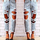 Fashion Womens Destroyed Ripped Jeans Distressed Denim Pants Long Trousers Pop