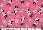MINNIE MOUSE super cool on pink  : 100% LICENSED cotton  : by the 1/2 metre