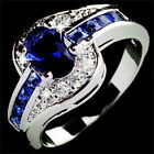 Blue Sapphire White Gold Filled Engagement Ring Size 7 8 9 Rings Jewelry EW