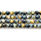 Natural 5A Yellow Blue Tiger's Eye Stone Gemstone Round Beads 15""
