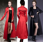 Womens British Full Length Double-breasted Overcoat Casual Coats Outdoor Jackets