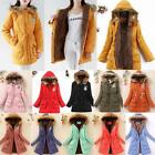 Women's Thicken Long Coat Fur Collar Hooded Quilted Jacket Winter Parka Outwear