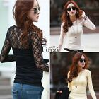 Fashion Women Lace Crochet Embroidery Long Sleeve Shirt Top Blouse T-Shirt TXWD