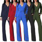 Womens OL Work Long Sleeve Jumpsuits Romper V Neck Wide Leg Long Playsuits New K