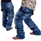 Outdoor Waterproof&Windproof Men's Ski Snowboard Pants Denim Hiking Salopettes