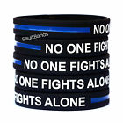 Twenty (20) No One Fights Alone Thin Blue Line Wristbands - Show Police Support