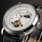 U.S.A KS Luxury Mens Leather Tourbillon Automatic Mechanical Sport Wrist Watch