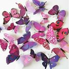 24Pcs(2 Sets) 3D Butterfly Wall Stickers Magnetic Decals Home Room Decor US