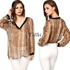 2015 Womens Deep V-Neck Long Sleeve Loose Irregular Hem Casual Blouse Top TXWD