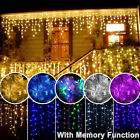96-1500 LED Hanging Icicle Curtain Lights Outdoor Fairy Xmas String Wedding 110V