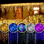 96-1500 LED Hanging Icicle Curtain Lights Outdoor Fairy Xmas Line Wedding 110V