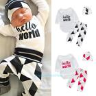 3PCS Infant Baby Boy Girl Hello World Tops Romper+Pants+Hat Outfits Clothes Set
