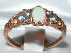 Ladies Solid 9ct Rose Gold Natural Opal & Aquamarine Victorian Style Ring