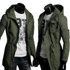 Men's Military Jackets Men's Cotton Long Jacket Trench Coat Hooded Outwear Tops