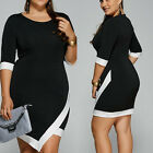 Plus Size Sexy Womens Casual Bodycon Evening Party Cocktail Office Short Dress