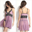 Sexy Sheer Lace Side-Slit Dress G-String Nightgown Women Strappy Cami Nightwear~