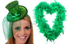 GREEN GLITTER TOP HAT AND FEATHER BOA LADIES BURLESQUE FANCY DRESS ST PADDYS DAY