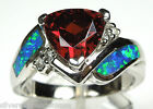 Garnet, White Topaz, & Blue Fire Opal Inlay 925 Sterling Silver Ring Sz 6,7,8,9