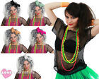 LADIES 1980S COSTUME BLACK MESH TOP, WIG AND 4 PACK NEON BEADS RAVE FANCY DRESS