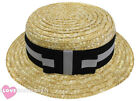DELUXE STRAW BOATER HAT BLACK GREY BAND 1920S FANCY DRESS VICTORIAN BARBER SHOP
