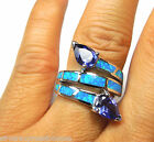 Tanzanite and Blue Fire Opal Inlay 925 Sterling Silver Ring size 5.75