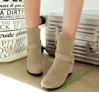 Ankle Boots New Fashion Casual Shoes Faux Suede Buckle Wedge Hidden Heel Leisure