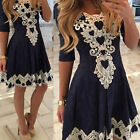 Fashion Women Summer Lace Long Sleeve Party Evening Cocktail Short Mini DressPor