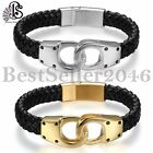 NEW Men Black Leather Silver Gold Stainless Steel Clasp Bangle/Handcuff Bracelet