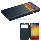 Samsung Galaxy Note 3 Flip Case Leather Wallet Cover Front Window Blue or Pink