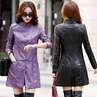 New Women's Faux Leather Jacket Double Breasted Long Smil Fit Casual Windbreaker