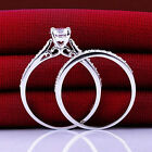 2Pcs Set Women Engagement Wedding Cubic Zirconia Silver Plated Ring jewelry