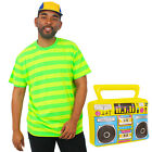 BEL-AIR PRINCE COSTUME 80'S 90'S FANCY DRESS T-SHIRT CAP AND INFLATABLE BOOMBOX