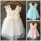US Baby Girls Princess Lace Tulle Flower Gown Formal Party Bridesmaid Dress