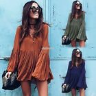 Women V Neck Long Sleeve Pleated Party Evening Cocktail Club Long Top Mini Dress