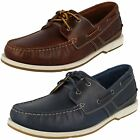 Mens Clarks Fulmen Row Dark Tan Or Navy Leather Lace Up Boat Shoes