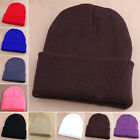 Men's Womens Beanie Knitted Ski Cap Winter/Spring Warm Wool Plain Hats Outdoor *