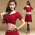Womens Lace Oriental Belly Dance Costumes Set Indian Dancing Cropped Tops Skirts