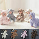 Soft Warm Newborn Baby Boy Girl Bear Romper Hooded Jumpsuit Bodysuit Outfits