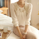 Summer Ladies Loose Casual Long Sleeve Lace Chiffon T-Shirt Blouse Tops White