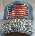 Denim Rhinestone Crystal Baseball Caps Ladies Fashion Accessories Ltd Edtn H lot