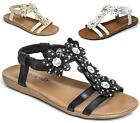 LADIES WOMENS LOW WEDGE COMFORT FOOTBED ELASTIC OPEN TOE CASUAL SANDALS SIZE