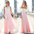 Sexy Women Summer Boho Maxi Long Evening Party Beach Dress Chiffon Lace Dresses