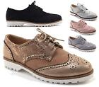 LADIES FLAT FAUX SNAKE LEATHER OXFORD BROGUE LACE-UP PUMPS OFFICE WORK SHOES 3-8