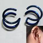 Pair New Wrap Cartilage Clip-on Ear Cuff Dangle Stud Earring Non Piercing