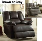 LARGE Brown or Gray Leather Oversized Power Glider Reclin...