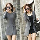 Women Fall Winter Jackets Woolen Coats Slim Fit Trench Zipper Closure Crew Neck