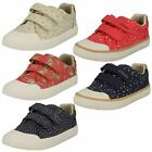 Girls Clarks Comic Cool Inf Pink Or Navy Canvas Doodles Pumps