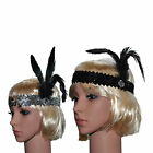 Flapper Charleston 1920's Vtg Downton Gatsby Sequin Feather Headband Headpiece